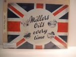 Millers Oils emaille bord 30x40 cm classic flag Nieuw !!!!!