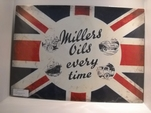 Millers Oils emaille bord Classic flag 50x70 cm Nieuw !!